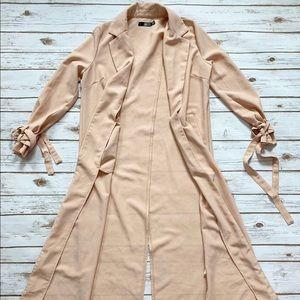 Missguided Peach Long Blazer Jacket